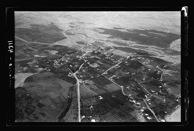 Air views of Palestine. Air route following the old Jerusalem-Jericho Road. Modern Jericho. Taken above the Ain Sultan road looking S.
