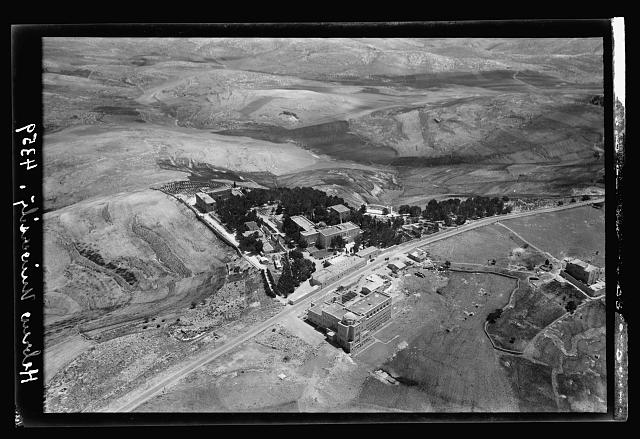 Air views of Palestine. Jerusalem from the air. Various on Scopus and Olivet. Jerusalem. The Hebrew University. A closer view, library in foreground