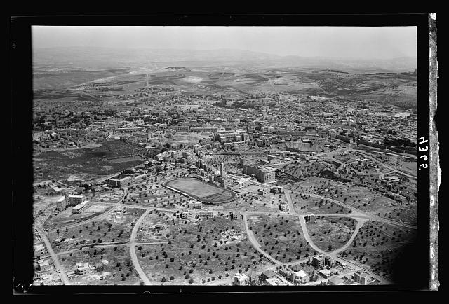 Air views of Palestine. Jerusalem from the air. Newer Jerusalem. The Y.M.C.A. section. Looking N.E. over city