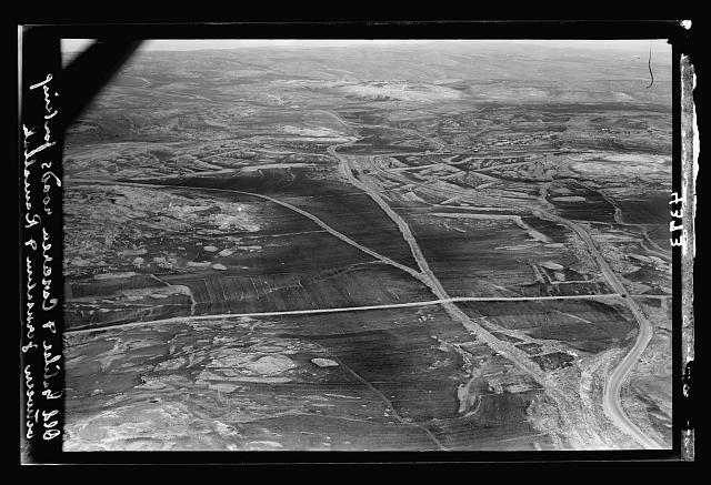 Air views of Palestine. Various points of interest around Jerusalem. Roman roads to Samaria and Caesarea. Forking of these roads about 4 miles north of Jerusalem
