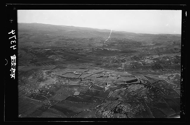 Air views of Palestine. Various points of interest around Jerusalem. Tell el-Nasbeh. Indentified [i.e., Identified] as Mizpah