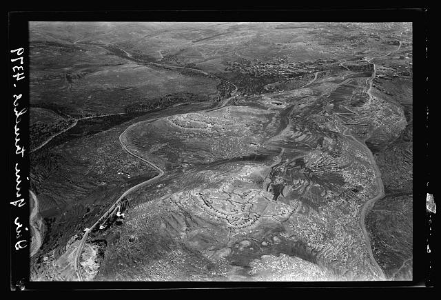 Air views of Palestine. Various points of interest around Jerusalem. Deir Yasin Turkish war trenches. West of Jerusalem, commanding the Jaffa road