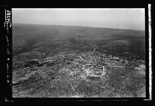 Air views of Palestine. Bethlehem and surroundings. Bethlehem. A general view overlooking the town southward along the distant Hebron Road