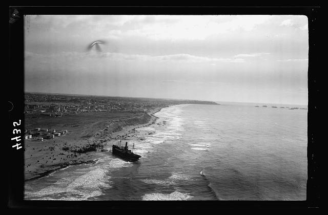 Air views of Palestine. Jaffa, Auji River and Levant Fair. Effective marine scene. Looking south along the coast