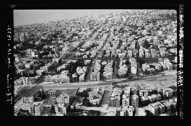 Air views of Palestine. Tel Aviv. Central part looking down on Allenby Street