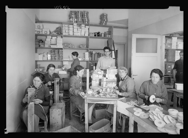 Jewish factories in Palestine on Plain of Sharon & along the coast to Haifa. Nachlat Izhak. Elastic & ribbon factory. Packing of finished goods