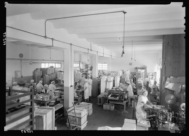 "Jewish factories in Palestine on Plain of Sharon & along the coast to Haifa. Ramath Gan. The ""Elite"" chocolate factory. General view of packing department"