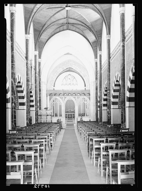 St. George's Cathedral, Jerusalem. Cathedral interior, the nave from front entrance