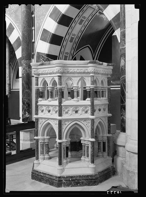 St. George's Cathedral, Jerusalem. The decorative stone pulpit