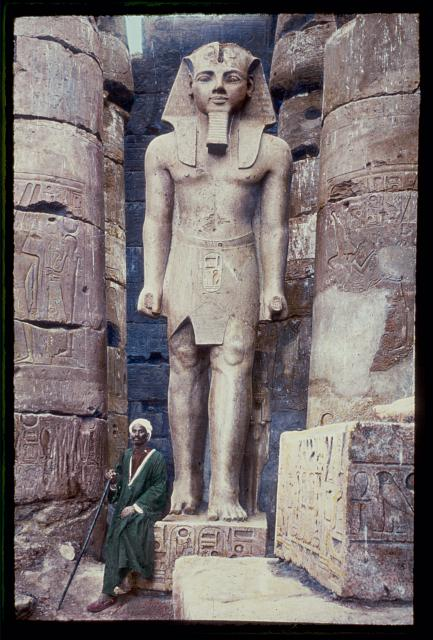 Egypt. Luxor. Statute of Rameses II [i.e., Ramses II] in Temple of Luxor