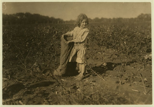 "Edith, a five year old cotton picker on H.M. Lane's farm Bells, Tex. (near Denison). ""She's a good steady picker. Works all day long,"" her aunt said. See also other photos taken here.  Location: Bells, Texas."