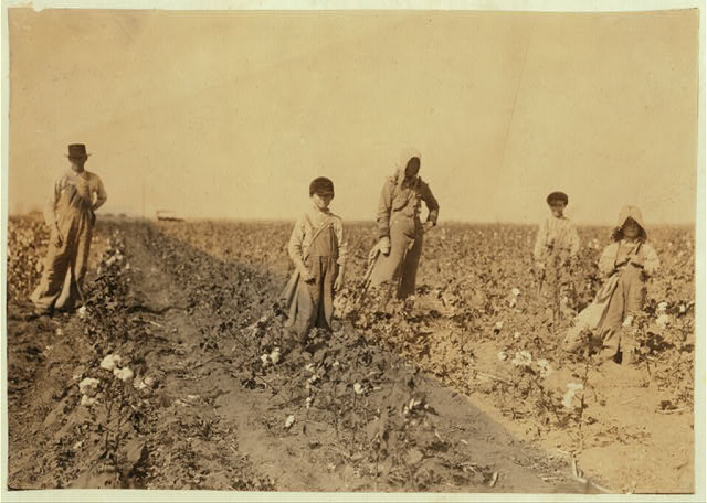 "Family of J. M. Payne, Route 1, Lawton, Okla. Mrs. Payne and four children picking cotton. Mart, 5 years, picks from 10 to 20 pounds a day (average) Harley, 7 years, picks 40 pounds a day (average) Grandison, 10 years, pickes 75 pounds a day (average) Hubert, 15 years, picks 200 pounds and over. Go to Fairview School. Mother said: ""Mart, he haint old nuff to go to school much, but he kin pick his 20 pounds a day. Mostly 10 or 15 pounds."" Father is a renter.  Location: Comanche County, Oklahoma"