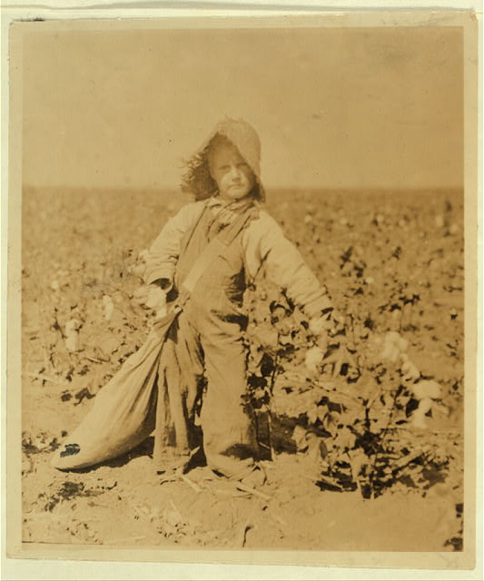 "Mart Payne, 5 years old, picks from10 to 20 pounds a day. Mother said: ""Mart, he haint old nuff to go to school much, but he kin pick his 20 pounds a day. Mostly 10 or 15 pounds."" See 4560. Lewis W. Hine, photo.  Location: Comanche County, Oklahoma."