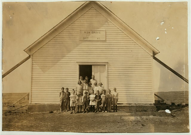 School #45, Ash Grove; Miss Hazel McKay, Teacher. One-room school in fair condition. Opened September 4th--8 months term. Enrollment 22, average attendance 15; last year: enrollment 27, average attendance 15. The balance are picking cotton and also 5 more that have not enrolled at all. Pickers may be out 2 weeks more. Teacher expects 30 enrolled after picking is over.  Location: Comanche County, Oklahoma