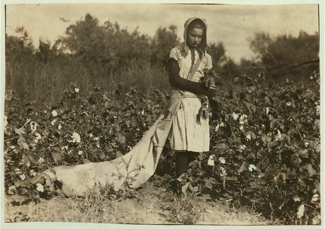 "Callie Campbell, 11 years old, picks 75 to 125 pounds of cotton a day, and totes 50 pounds of it when sack gets full. ""No, I don't like it very much."" See 4590. Lewis W. Hine. See W.H. Swift Report.  Location: Potawotamie County, Oklahoma."