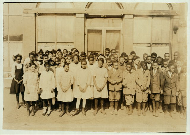 [75 Sixth Grade children (colored) crowded into 1 small room in an old store building near Negro High School, with 1 teacher.]  Location: [Muskogee, Oklahoma]