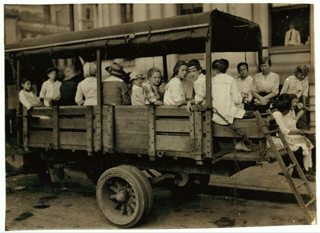 6:00 A.M. at Post Office Square, Truck load of tobacco workers bound for American Sumatra Tobacco Farm. S[outh] Windsor. They return about 7 P.M.  Location: Hartford, Connecticut