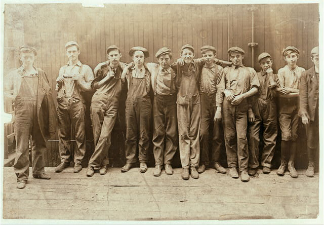A Group of Young Fellows Working in a Cannery, In Indianapolis, Aug., 1908.  Location: Indianapolis, Indiana.