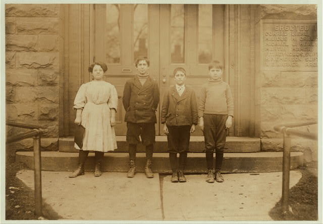 Children from Grade 5, School #2, Buffalo, N.Y. All worked in Cannery last summer. Rose Cugino, 12 years old last summer. Worked on beans and corn in the sheds of Albion, sometimes until 9 P.M. Made 50 cents a day. Is making good in school work. Joseph Cangiamila, 11 years old last summer. Worked on beans and corn in the sheds until 8 P.M., sometimes at Gowanda. Lost 3 weeks school. Henry Panasoi, 11 years old last summer. Worked on beans and corn in the sheds sometimes into the evening at Gowanda. Lost 3 weeks schooling. Andrew Geraci, 13 years old last summer. Worked on beans and corn in the sheds and dropped tomatoes cans into machine, sometimes until 9 P.M. and 10 P.M., at Albion, N.Y. Made 75 cents to $1.00 a day. Lost 7 weeks of school, but is making good.  Location: Buffalo, New York (State)