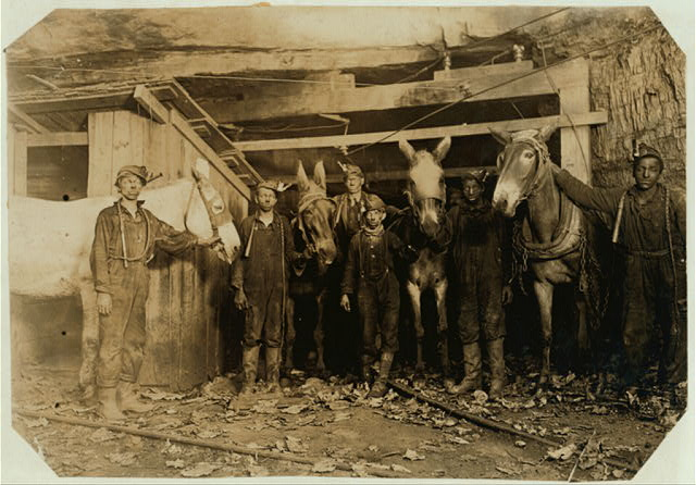 Young Drivers and Trapper Boy, Brown Mine, Brown, W. Va. (Underground from 7 A.M. to 5:30 P.M.) Sept., 1908.  Location: Brown, West Virginia.