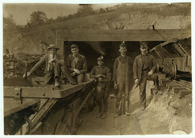 Bank Boss (on right) Brake Boy (in centre) Laura Mine, Red Star, W. Va.  Location: Red Star, West Virginia.