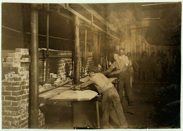 "The ""Carrying-in Boys,"" Midnight At an Indiana Glass Works.  Location: Indiana."