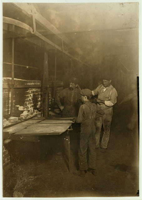 "The ""Carrying-in Boy,"" In an Indiana Glass Works, 1:00 A. M., Aug., 1908.  Location: Indiana."