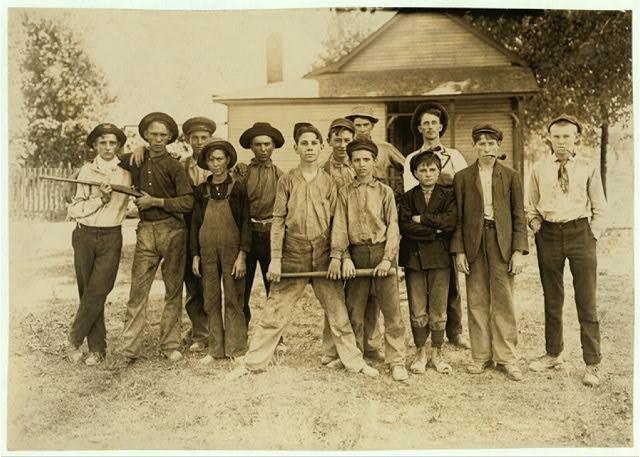 The Ball Team. Composed mainly of glass workers. Indiana. Aug. 1908. L.W.H. [Lewis Wickes Hine].  Location: Indiana.