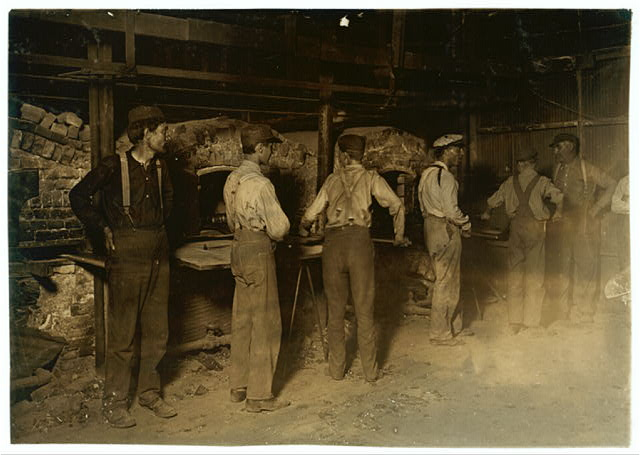 9 P.M. in an Indiana Glass Works. Aug., 1908.  Location: Indiana.