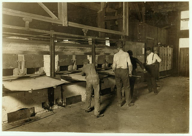 Mannington Glass Works. Uses no small boys (below 15): These are average: manager said they do not believe in working boys that ought to be in school. Say it pays to use large boys, as they pay them same as small ones--$1 a day: employ 60 men and 30 boys 15 to 18 years: no young girls.  Location: Mannington, West Virginia.