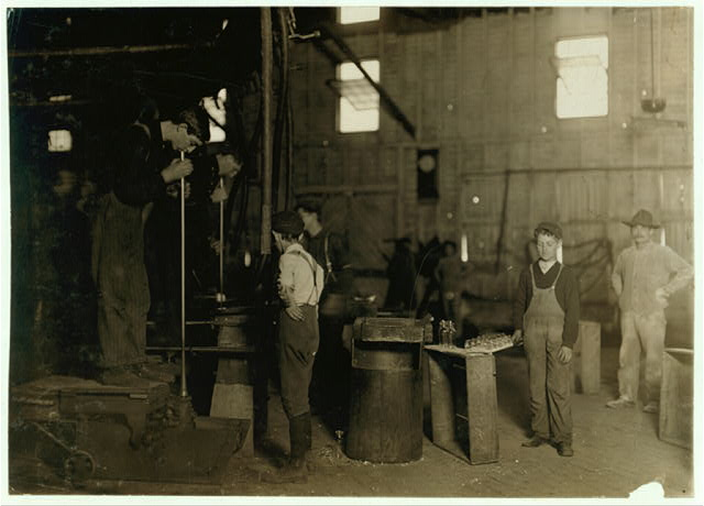 Men with Foot Mold and Boys. A West Virginia Glass Works.  Location: West Virginia.