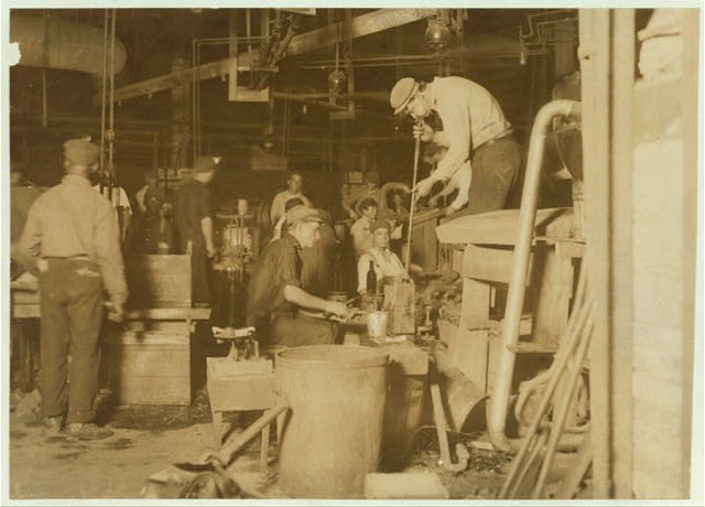 Night scene in Cumberland Glass Works, Bridgeton, N.J.  Location: Bridgeton, New Jersey.