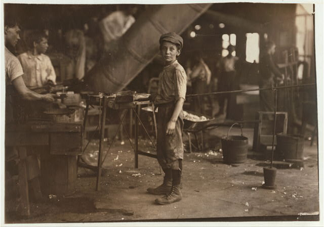 """Carrying-in"" boy in Alexandria Glass Factory, Alexandria, Va. Works on day shift one week and night shift next week. See photo 2261.  Location: Alexandria, Virginia."
