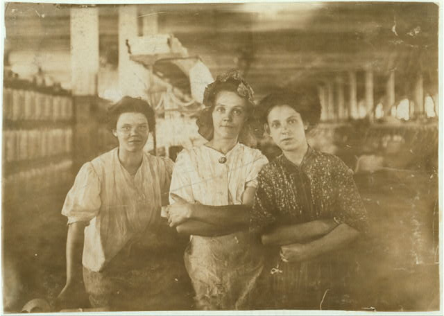 Some operatives in An Indianapolis Cotton Mill at the Noon Hour. Aug., 1908. Wit., E. N. Clopper. Location: Indianapolis, Indiana.