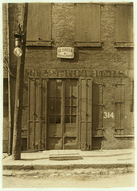 (See also #36 & #37.) Factory, where Harry McShane Was Injured. 312 Yeatman Alley, Cincinnati.  Location: Cincinnati, Ohio.