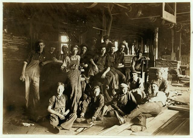 Noon Hour in a Furniture Factory, Indianapolis, Aug., 1908. Wit., E. N. Clopper.  Location: Indianapolis, Indiana.