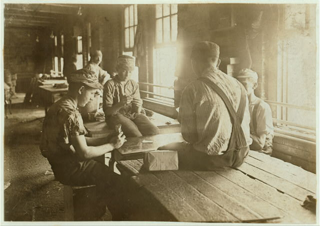 Noon Hour in an Indianapolis Furniture Factory. Aug., 1908. Wit., E. N. Clopper.  Location: Indianapolis, Indiana.