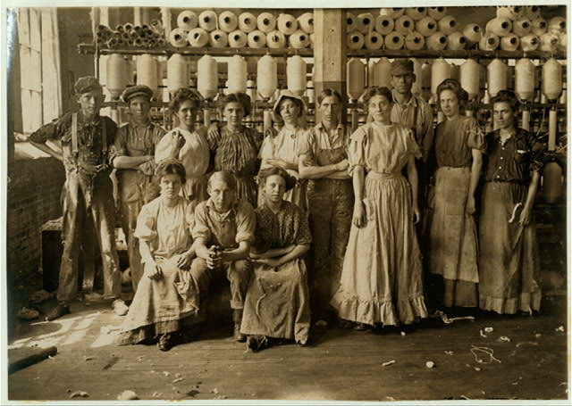 Operatives in Indianapolis Cotton Mill. Noon Hour. Aug., 1908. Wit., E. N. Clopper.  Location: Indianapolis, Indiana.