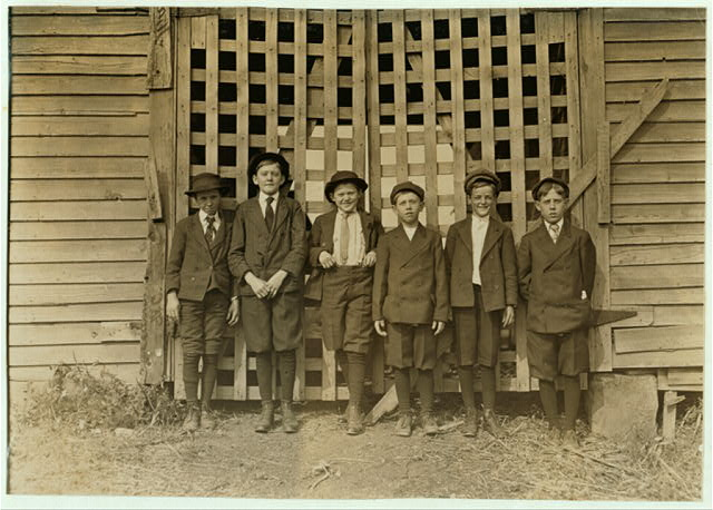 Boys going home from Sunday School. Right to left. Willie Long - in mill 4 yrs.; James Hurley; Lloyd Long - 12 yrs., in mill 2 yrs.; Spurgeon Price - 13 yrs., in mill 3 yrs.; Clarence Price - 14 yrs., in mill 3 yrs.; Charley Caswell- in mill 3 yrs.  Gastonia, North Carolina.