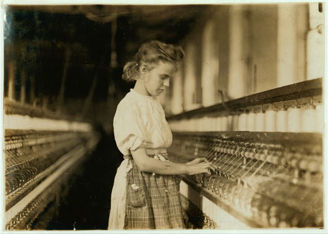 Girl in Cherryville Mill.  Location: Cherryville, North Carolina