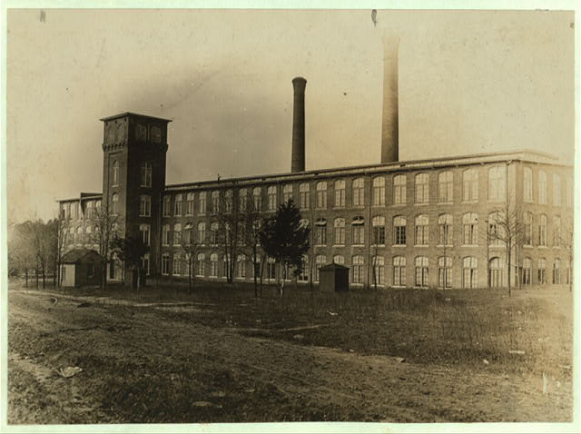View of Clinton Mills (S.C.) Superintendent would not allow me to take photos in mill. Many youngsters employed. See photos Nos. 359 and 375. Dec. 2, 1908. Witness, Sara R. Hine.  Location: Clinton, South Carolina