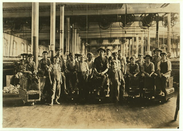 A few of the doffers and sweepers in the Mollahan Mills. Witness Sara R. Hine. Dec. 3, 1908.  Location: Newberry, South Carolina.