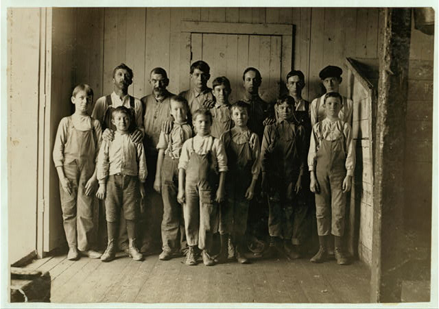 Some of the men and boys in Newton (N.C.) Cotton Mills. Plenty of youngsters here. Out of 150 employees, there were about 20 who looked to be 12 years old and under.  Location: Newton, North Carolina.