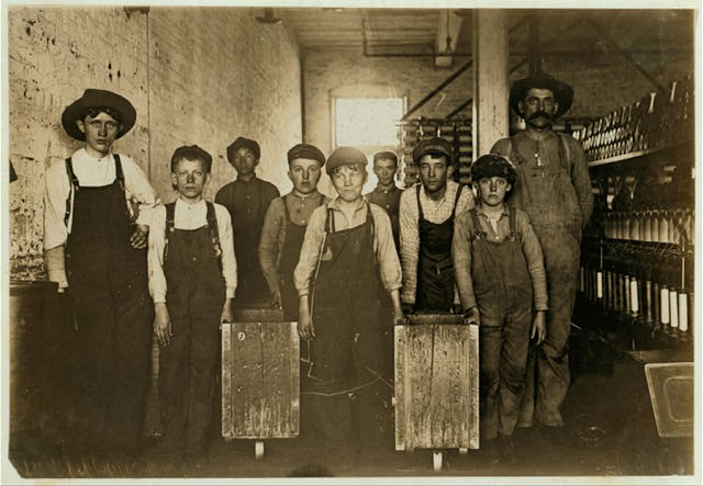Clyde Cotton Mills, Newton, N.C. Doffers in the above mill. 50 operatives, 10 of them small boys and girls like these.  Location: Newton, North Carolina.