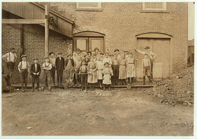 Group at the Bibb Mill No. 1, Macon Ga. This is one of the mills of the Bibb Mfg. Co., See label on photo 538 for profits made. Jan. 19,1909.  Location: Macon, Georgia.