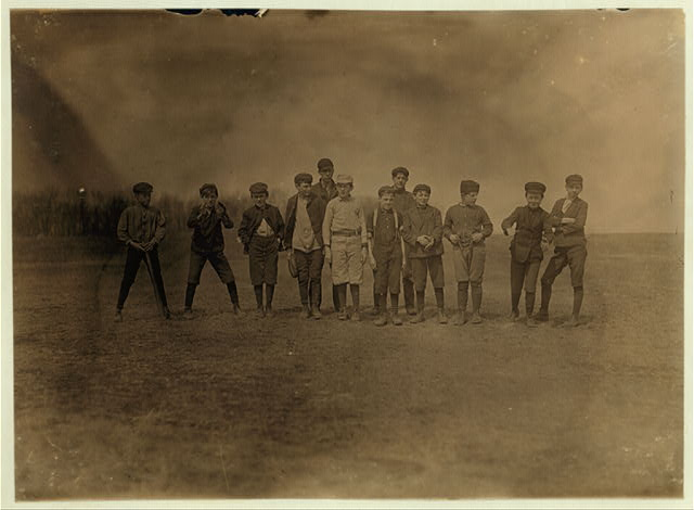 One of the ball-teams made up of boys from Natick Mills, Natick, R. I. Saturday P.M. April 17, 1909.  Location: Natick, Rhode Island.