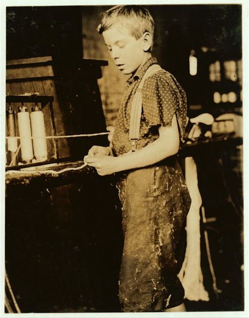 Youngsters making bands, cotton mill, North Pownal, Vt. Clarence Noel, 11 years old.  Location: No[rth] Pownal, Vermont.