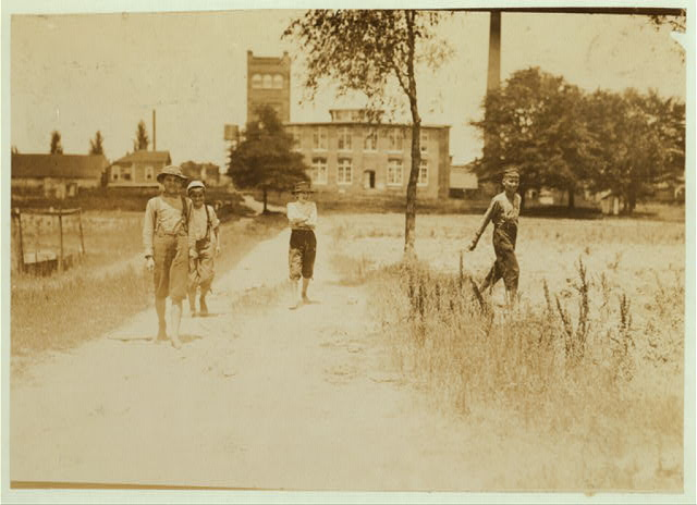 Doffer boys going to dinner. Tupelo (Miss.) Cotton Mills.  Location: Tupelo, Mississippi.