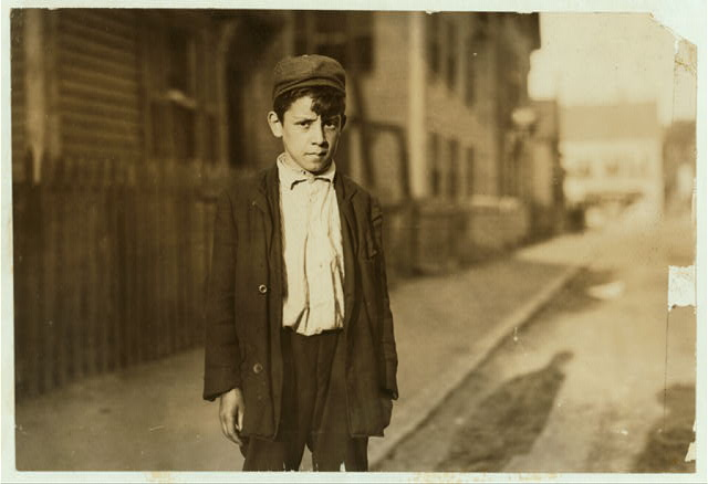 """[Leopoldo Andreoli, 208 Elm St. Very young--appears 11 or 12 years old. Is a """"Loom boy"""" in spinning room of the Ayer Mill; has a steady job now and makes $5.15 a week now.]  Location: Lawrence, Massachusetts."""