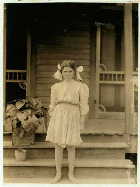 Myrtle Bagwell, one of the youngest of the spinners in Spartan Mills, Spartenberg [sic], S.C. Lives 104 Duncan Street. Been working nearly 2 years. Older sister said she could not find the family bible.  Location: Spartanburg, South Carolina.